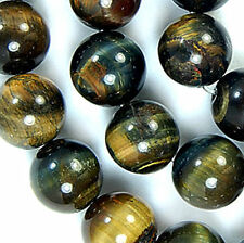 Natural 10mm Blue Yellow Tiger Eye Round Beads 15.5""