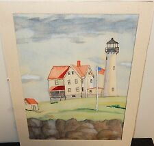 "TOM CARY ""KITTERY POINT FIGHT MAINE"" ORIGINAL WATERCOLOR PAINTING"
