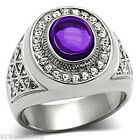 10x8 mm 316 Stainless Steel February Amethyst Dome Cut Men Ring Jewelry Size 12