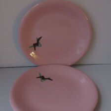 """2 Sterling China Russel Wright 7.5"""" Shell Pink Decorated Plates Restaurant Ware"""