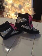 Girls Sz 5 Y Justice Silver Pink Black Sequin Sparkle Boot Tennis Shoes
