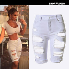 UK Womens Ladies Vintage Summer Stretch Ripped Hole Denim Shorts Jeans Hotpants