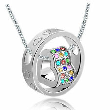 NEW Women Fashion Heart Mix Crystal Silver Charm Pendant Chain Necklace IB1S9