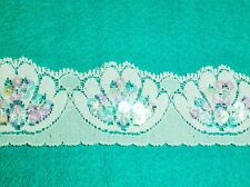 2 Metres length Stretch Single Edge White Lace with Sequins Approx. 40mm (4cm)