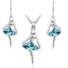 Silver and Blue Jewellery Set Ballet Girl Crystal Drop Earrings & Necklace S492