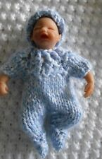 """Doll Clothes footed hand knitted blue denim 2 pc suit with cap fit baby boy 4.5"""""""