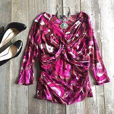 ALFANI MACYS Wrap Blouse Purple Floral Shirt Black Top Size L Large