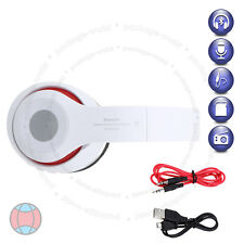 Foldable Wireless Bluetooth Headset Stereo White Headphone Built-In Radio DCUK