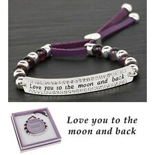 Amethyst & Leather, Love you to the Moon & Back Bracelet . 64835