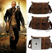 "Military Canvas Leather Men's Satchel School 14"" Laptop Shoulder Messenger Bag"