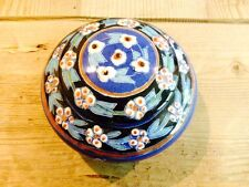Vintage ceramic hand painted blue pottery jar from Istanbul Turkey FREE SHIPPING