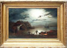 """""""Fishing at night"""" old oil on canvas,antique painting 19th c German school,"""
