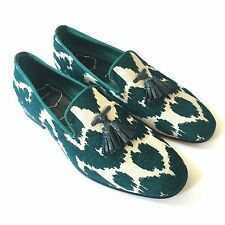 NWT $2.3k TOM FORD Men's Turquoise Jacquard Crocodile Tassel Loafers AUTHENTIC