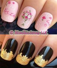 NAIL ART SET #411 YES I DO ENGAGEMENT WATER TRANSFERS/DECAL/STICKERS & GOLD LEAF