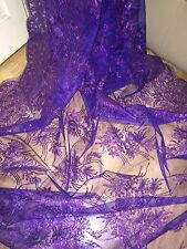 1 MTR PURPLE SCALLOPED EMBROIDED SEQUENCE CRYSTAL BRIDAL LACE NET FABRIC