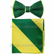 New Men's Pre-tied Bowtie And Hankie Set Two Tone Prom Emerald Neon Green Stripe