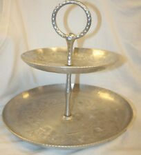 Vintage Everlast Forged Aluminum,Hammered 2 Tier Server,Pattern Fruit,Flowers