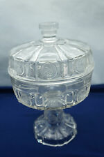 ANTIQUE EAPG GLASS US GLASS COIN PATTERN RARE COVERED COMPOTE 1892 ORIGINAL