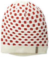 Muk Luks Womens Candy Coated Red Dots Crochet Sofia Knit White Beanie Winter Hat