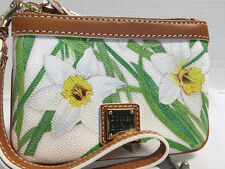 NWT~Dooney & Bourke~Daffodils~Small Wristlet*White*Wallet*