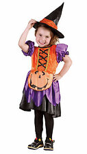 CUTE GIRLS TODDLER PUMPKIN WITCH COSTUME & WITCHES HAT BOOK WEEK HALLOWEEN 3-4