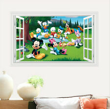 WALL STICKERS 3D Effect Window Mickey Minnie Mouse decorative sticker Removable