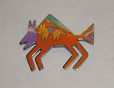 "Vintage LAUREL BURCH Dog on Bison ""Bison"" Enamel Cloisonne Silver Pin Brooch"