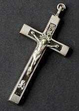 ANTIQUE Vintage SKULL & CROSSBONES Ebony Wood CATHOLIC CRUCIFIX Rosary Cross