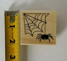 Craft Smart Spider & Web Halloween Fall Wood Mounted Rubber Stamp Michael's