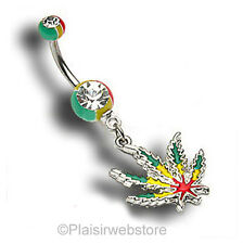 PIERCING NOMBRIL CANNABIS RASTA REGGAE COOL
