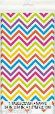 RAINBOW CHEVRON PLASTIC TABLE COVER ~ Birthday Party Supplies Decorations Cloth