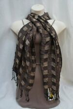 Cejon Wrap Brown Multi Checkered Rayon Metallic Fringe Long Shawl 20x68
