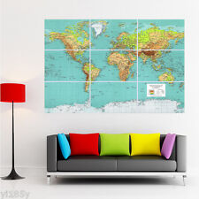 Modern World Map Poster Giant Large Wall Art Huge Decor YH13