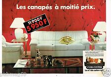 Publicité advertising 1988 (2 pages) Fauteuil canapé Cuir Center