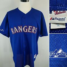 MAJESTIC Authentic Texas Rangers Men's XXL Blue S/S Mesh Stitched Blank Jersey