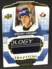 SIDNEY CROSBY 16-17 UD Trilogy TRYPTICHS GOLD JUMBO GAME-USED STICK LOGO #08/10!