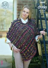 KNITTING PATTERN Ladies Bobble & Cable Cape/Poncho Chunky 4664 King Cole