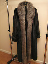 VTG. FULL LENGTH BLACK RANCH MINK FUR COAT Silver Fox Fur Tuxedo Sz. Sm/Med