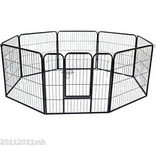 "Pawhut 8 Panel 32"" Heavy Duty Powder Coated Metal Dog Pet Playpen Exercise Fence"
