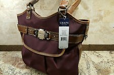 "CHAPS:""Avalon"" black cherry fabric & faux leather shoulder bag. NWT retail $79."
