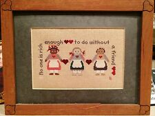 """Framed Cross Stitch No One Is Rich Enough To Do Without A Friend 11X 6"""" Complete"""