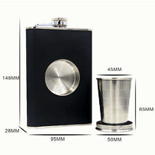 New StainlessSteel Wine Flask With Collapsible SHOT GLASS Wraped with Leather