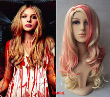 DELUXE HALLOWEEN BLOOD DRIP STAINED LONG BLONDE CURLY ZOMBIE COSTUME WIG