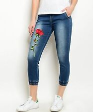 Cute Western Denim Joggers Jeans Capris Red Rose Applique NWT LADIES SMALL