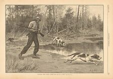 A.B. Frost, Native American, Deer Hunting, Dogs, Vintage 1883 Antique Art Print