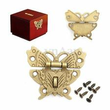 Retro Vintage Butterfly Latch Catch Wooden Jewelry Box Case Hasp Pad Chest Lock