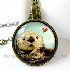 Retro Style Handmade Glass Dome Necklace, Otter Love, C-233