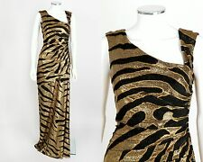 TULEH GOLD METALLIC BLACK TIGER STRIPE LONG EVENING DRESS GOWN SZ 8