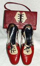 VINTAGE I. MAGNIN MATCHING WOMENS SHOES & PURSE 1960'S RED PATENT LEATHER RARE