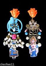 Boucles d'oreilles clips noeud vintage dissociées oiseau bleu marquises baroques